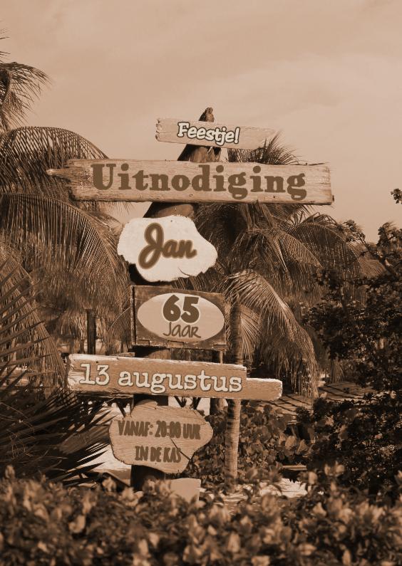 Uitnodigingen - Uitnodiging SEPIA paal strand S