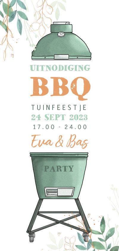 Uitnodigingen - Uitnodiging staand met bbq en takjes