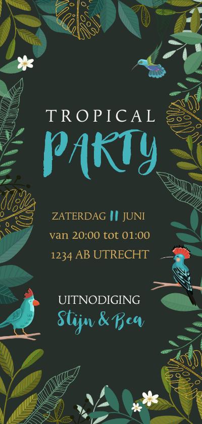 Uitnodigingen - Uitnodiging staand tropical met vogels