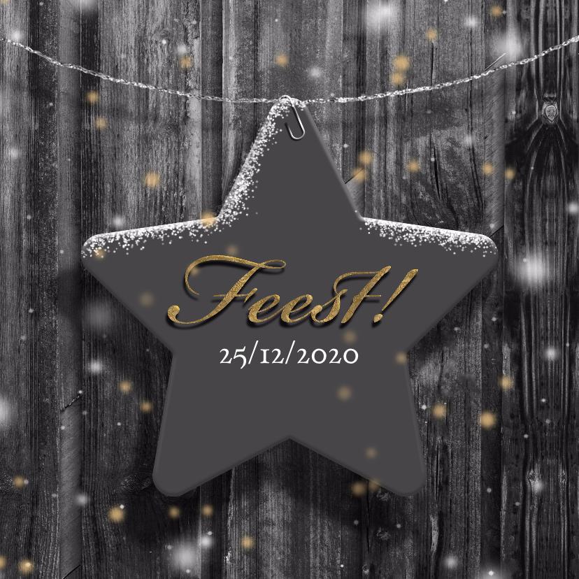 Uitnodigingen - Uitnodiging ster op hout winter