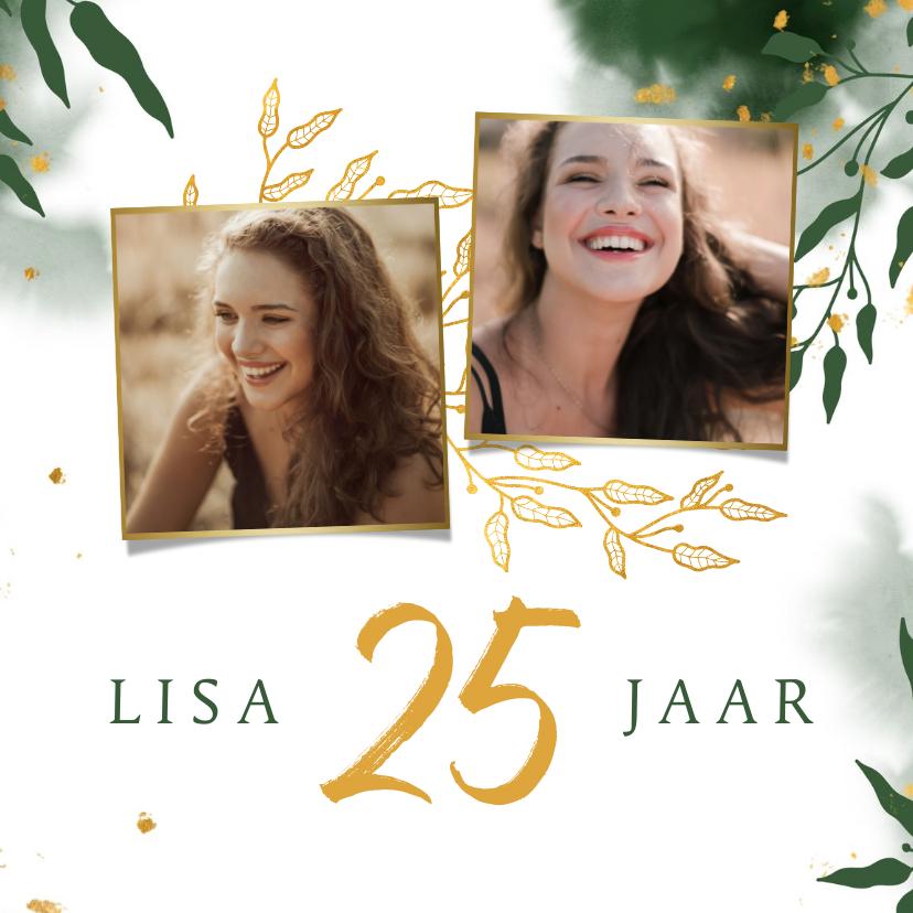 Uitnodigingen - Uitnodiging stijlvol met gouden bladeren en waterverf