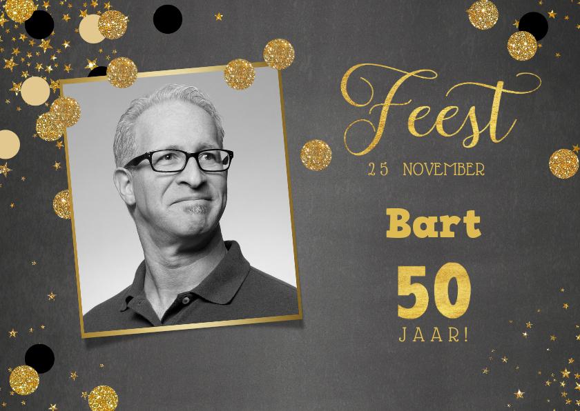 Uitnodigingen - Uitnodiging stijlvolle foto kaart krijtbord met confetti