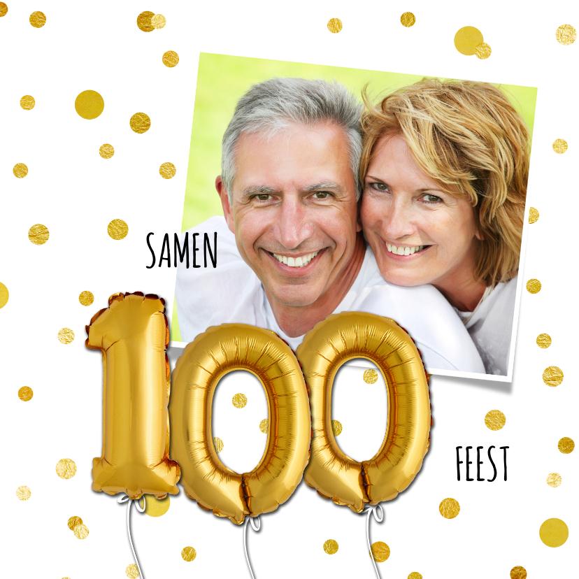 Uitnodigingen - Uitnodiging stip ballon 100 - SG