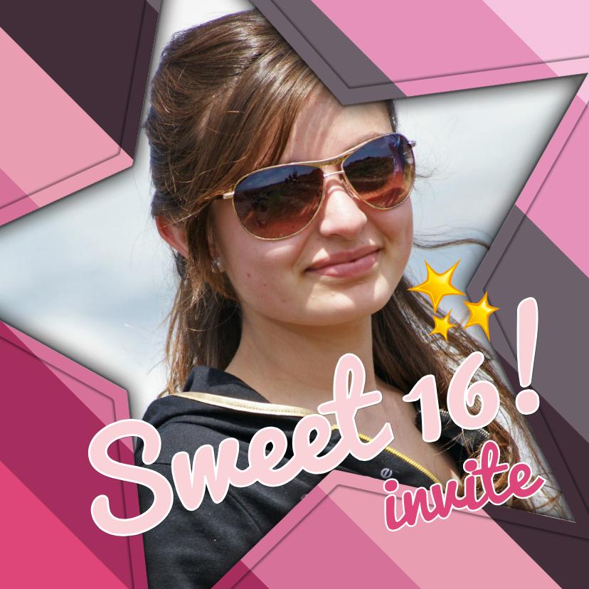 Uitnodigingen - Uitnodiging Sweet 16 ster