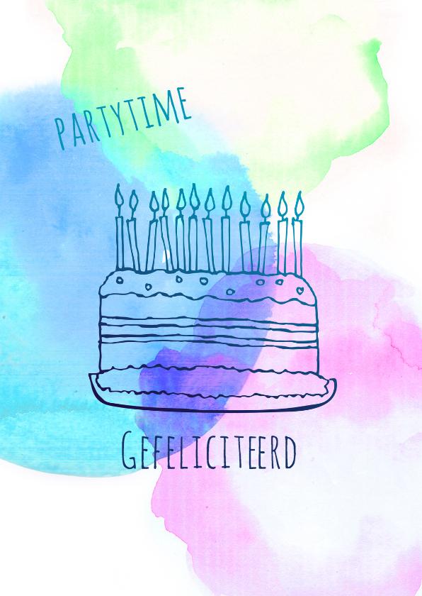 Uitnodigingen - Uitnodiging taart watercolour
