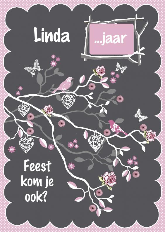 Uitnodigingen - uitnodiging takje grijs roze