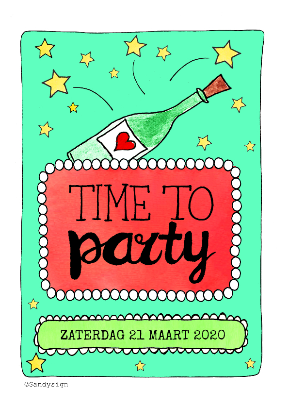 Uitnodigingen - Uitnodiging time to party champagnefles waterverf - SD