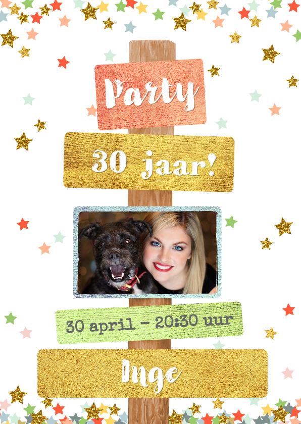 Uitnodigingen - Uitnodiging trendy fotokaart met sterren en tekst borden