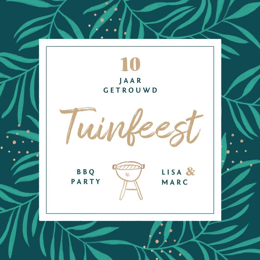 Uitnodigingen - Uitnodiging tuinfeest bbq groen stijlvol goud