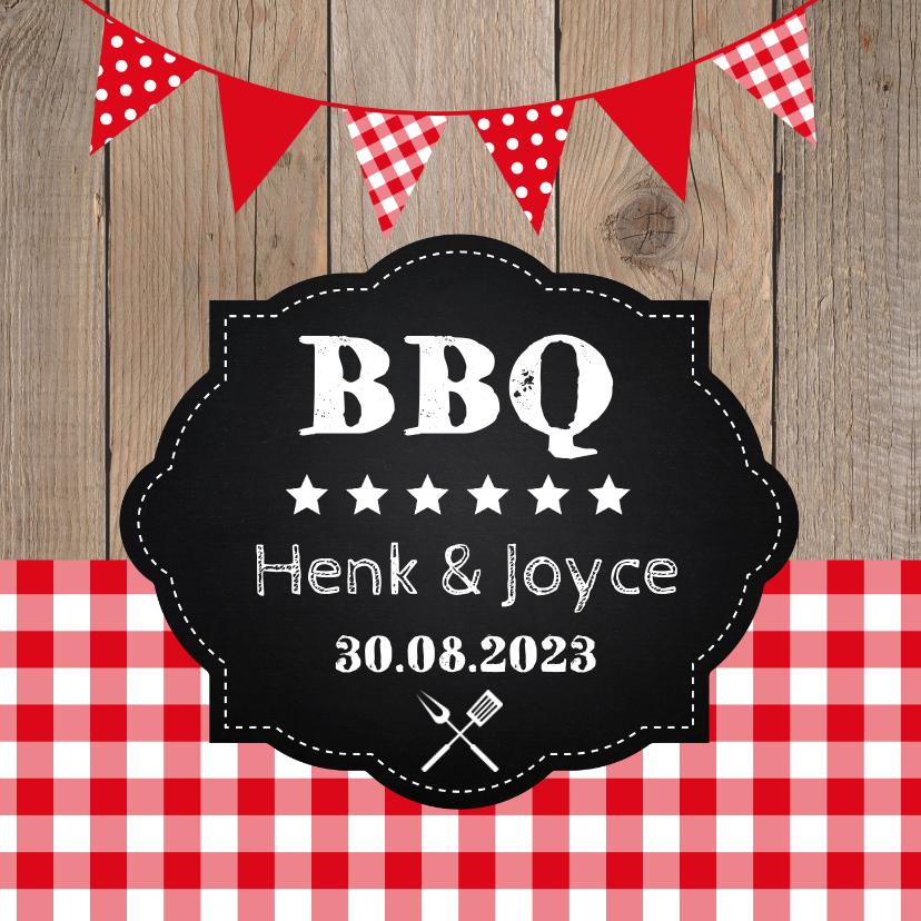 Uitnodigingen - Uitnodiging tuinfeest BBQ houtprint slinger