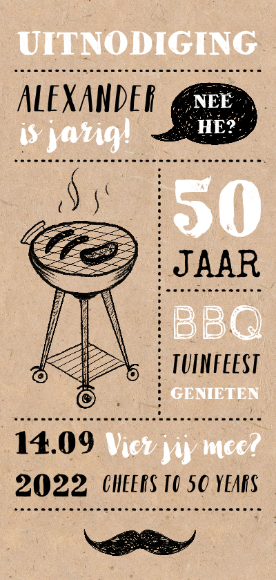 Uitnodigingen - Uitnodiging tuinfeest/BBQ met illustraties op kraft papier