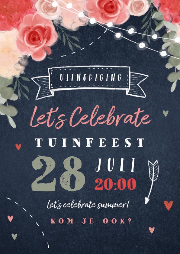 Uitnodigingen - Uitnodiging tuinfeest bloemen lampjes krijtbord