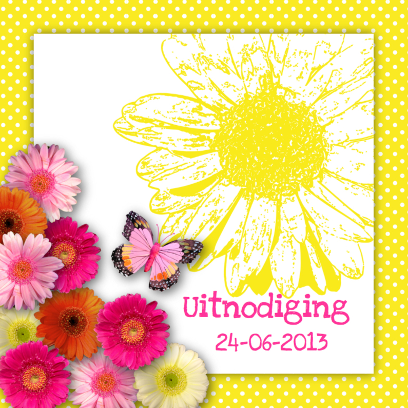 Uitnodigingen - Uitnodiging tuinfeest bloemen vrolijk