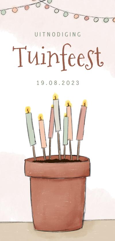 Uitnodigingen - Uitnodiging tuinfeest illustratie bloempot met kaarsen