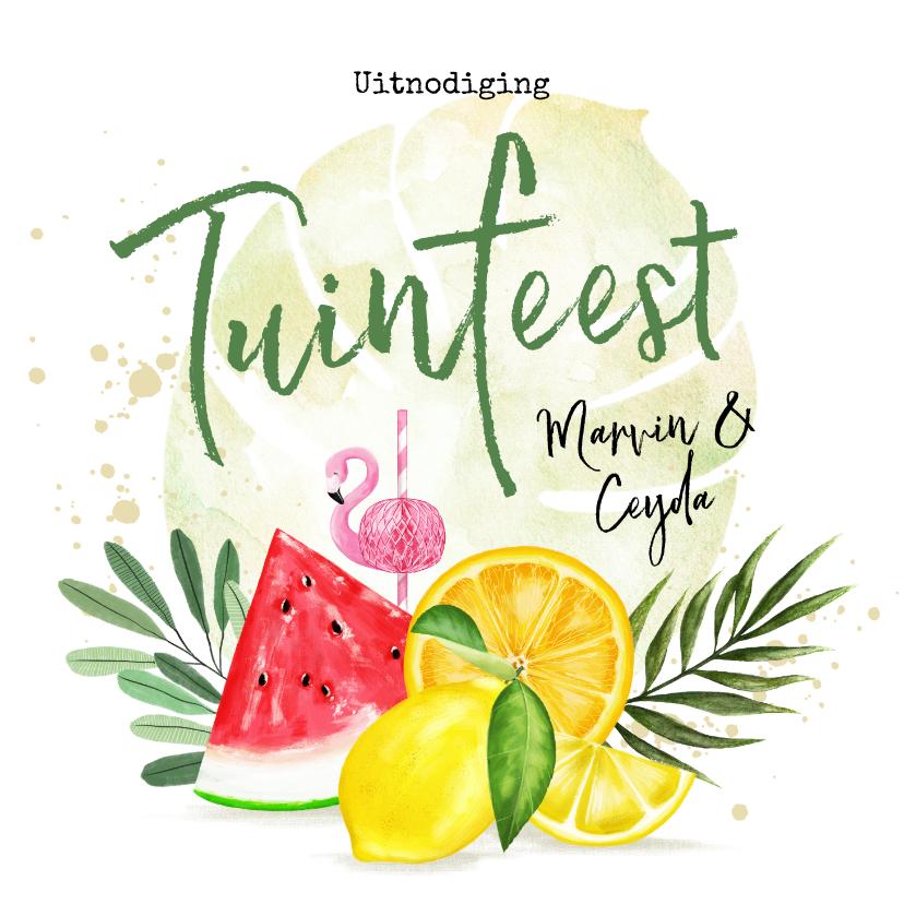 Uitnodigingen - Uitnodiging tuinfeest met fruit en botanische bladeren