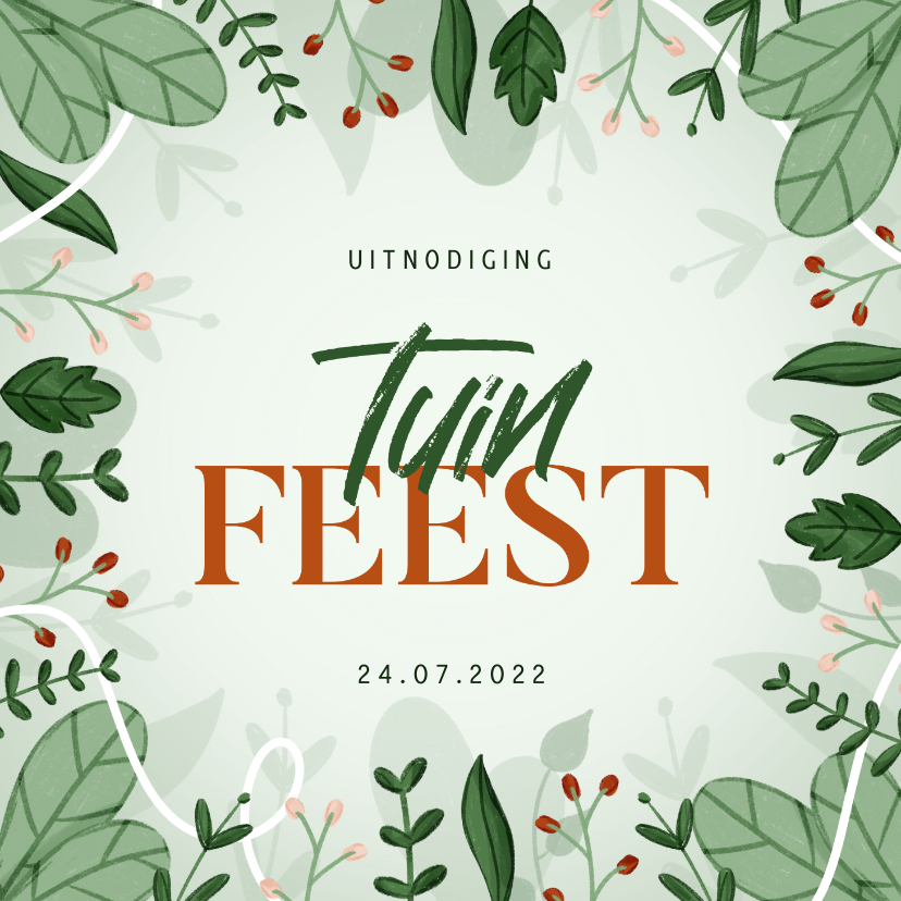 Uitnodigingen - Uitnodiging tuinfeest met plantjes en takjes