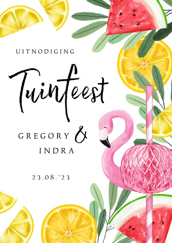 Uitnodigingen - Uitnodiging tuinfeest met tropical elementen en flamingo