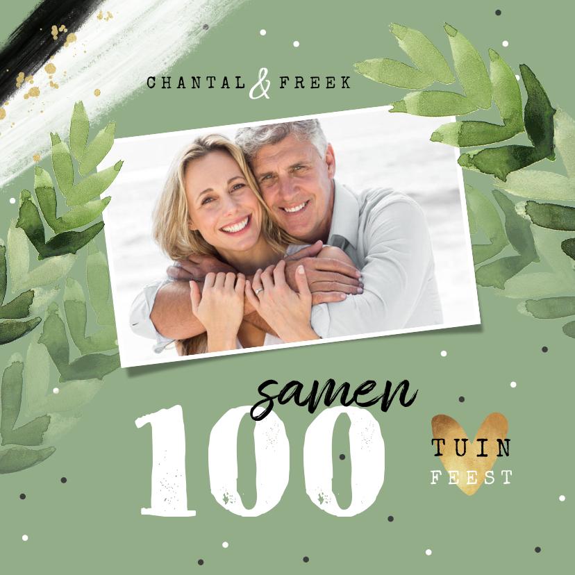 Uitnodigingen - Uitnodiging tuinfeest samen 100 groen foto confetti