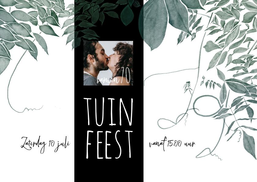 Uitnodigingen - Uitnodiging tuinfeest, samen 70, botanisch