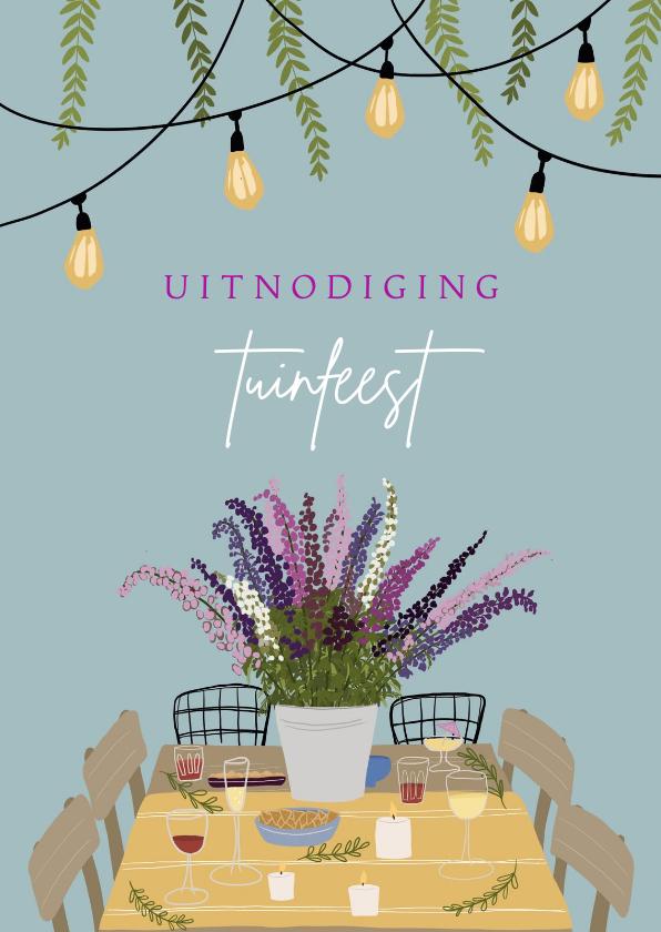 Uitnodigingen - Uitnodiging tuinfeest tuintafel