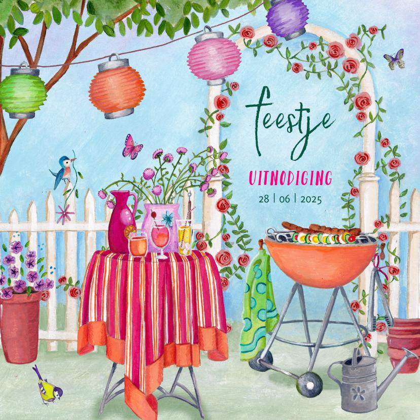 Uitnodigingen - Uitnodiging tuinfeestje met BBQ in vrolijke kleuren