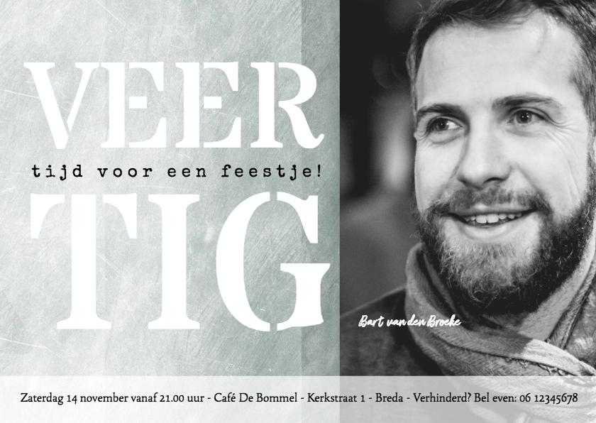 Uitnodigingen - Uitnodiging veertig met leuke typografie