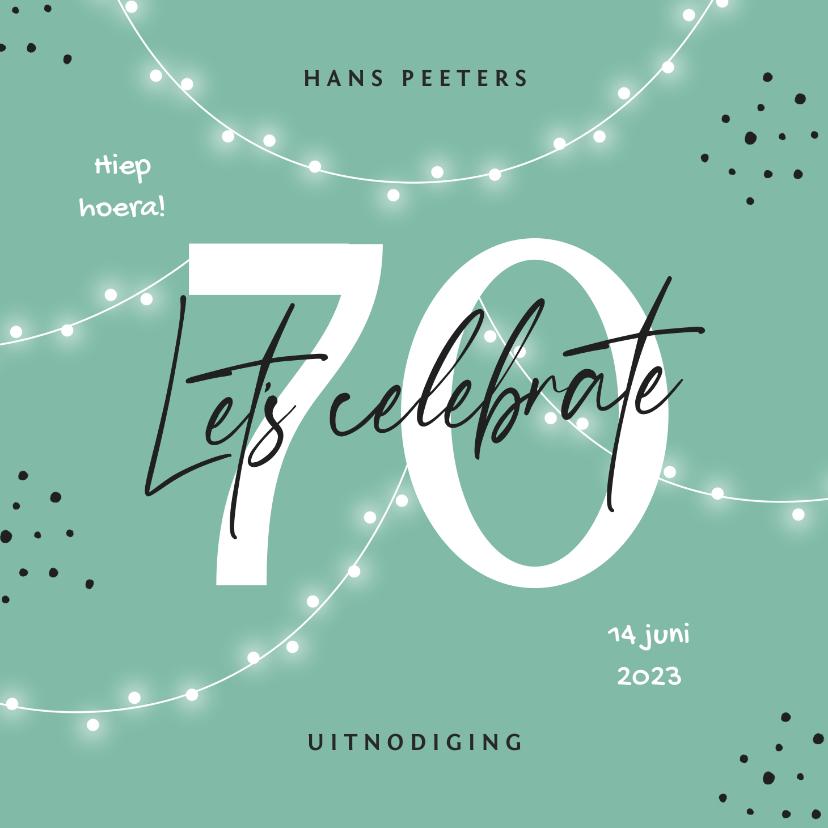 Uitnodigingen - Uitnodiging verjaardag 70 jaar man vrouw slingers confetti