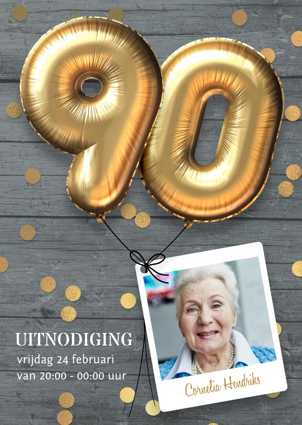 Uitnodigingen - Uitnodiging verjaardag 90 jaar ballon