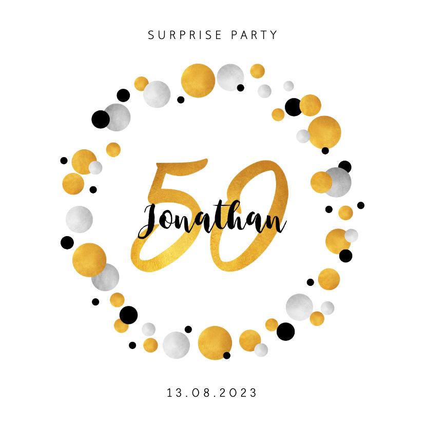 Uitnodigingen - Uitnodiging verjaardag confetti 50 jaar