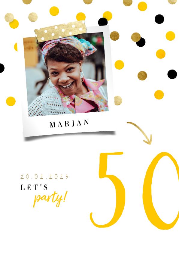Uitnodigingen - Uitnodiging verjaardag feestelijke confetti aanpasbaar