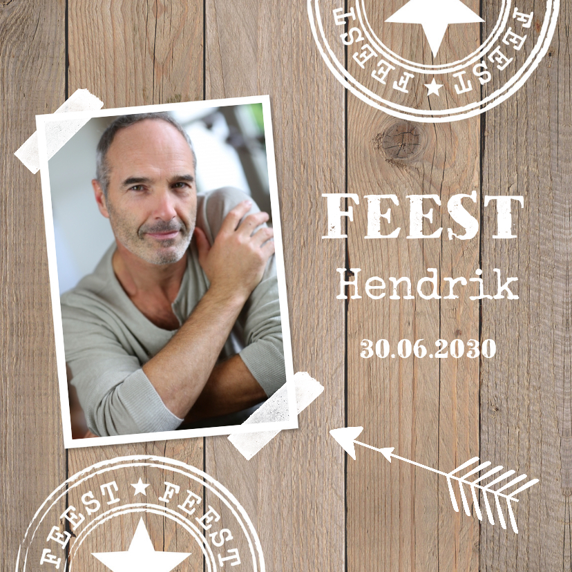 Uitnodigingen - Uitnodiging verjaardag foto houtprint