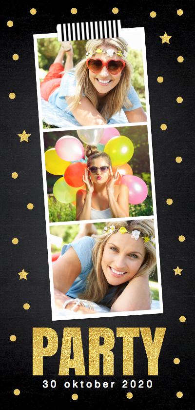 Uitnodigingen - Uitnodiging verjaardag fotocollage goud confetti
