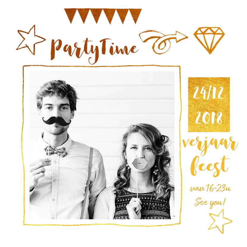 Uitnodigingen - Uitnodiging verjaardag goud wit party