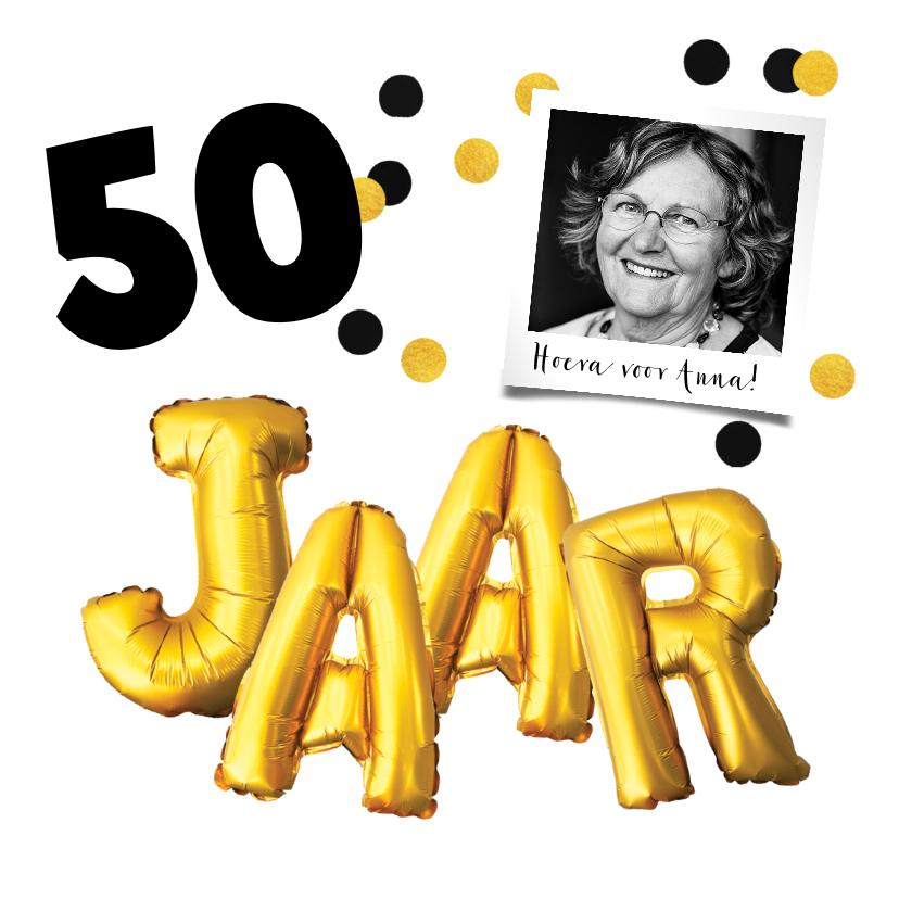 Uitnodigingen - Uitnodiging verjaardag gouden letters met leeftijd