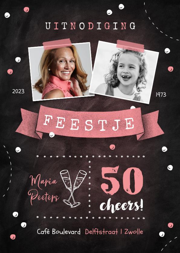 Uitnodigingen - Uitnodiging verjaardag hip krijt confetti vaandel