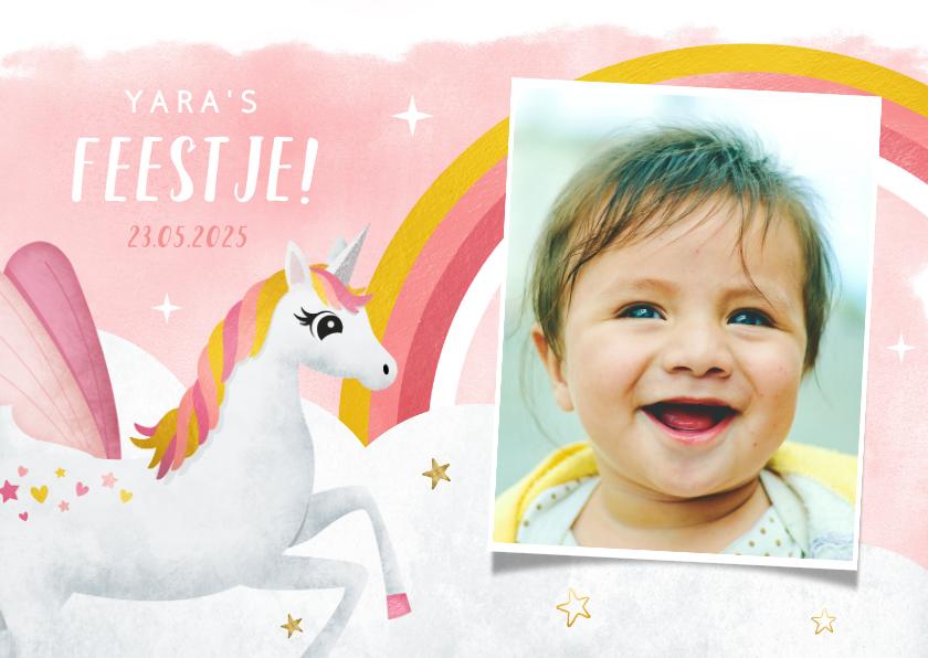 Uitnodigingen - Uitnodiging verjaardag kind met eenhoorn en regenboog