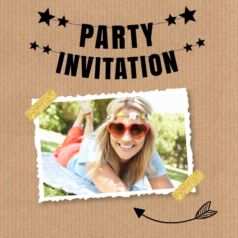 Uitnodigingen - Uitnodiging verjaardag kraft slinger