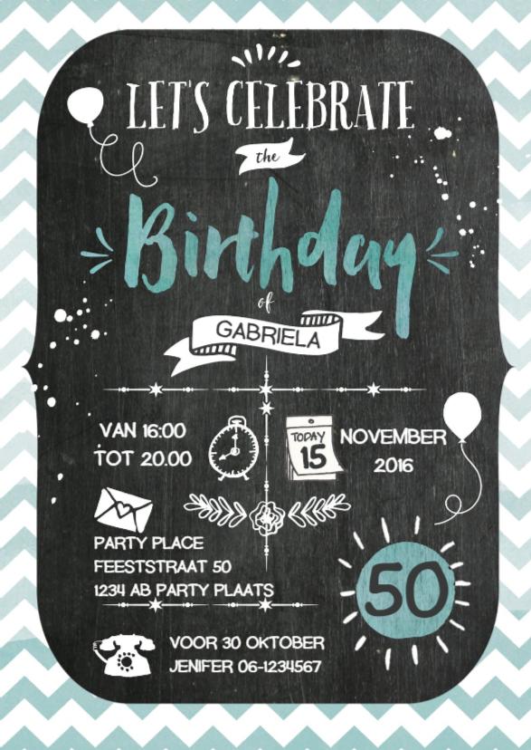 Uitnodigingen - Uitnodiging verjaardag krijt