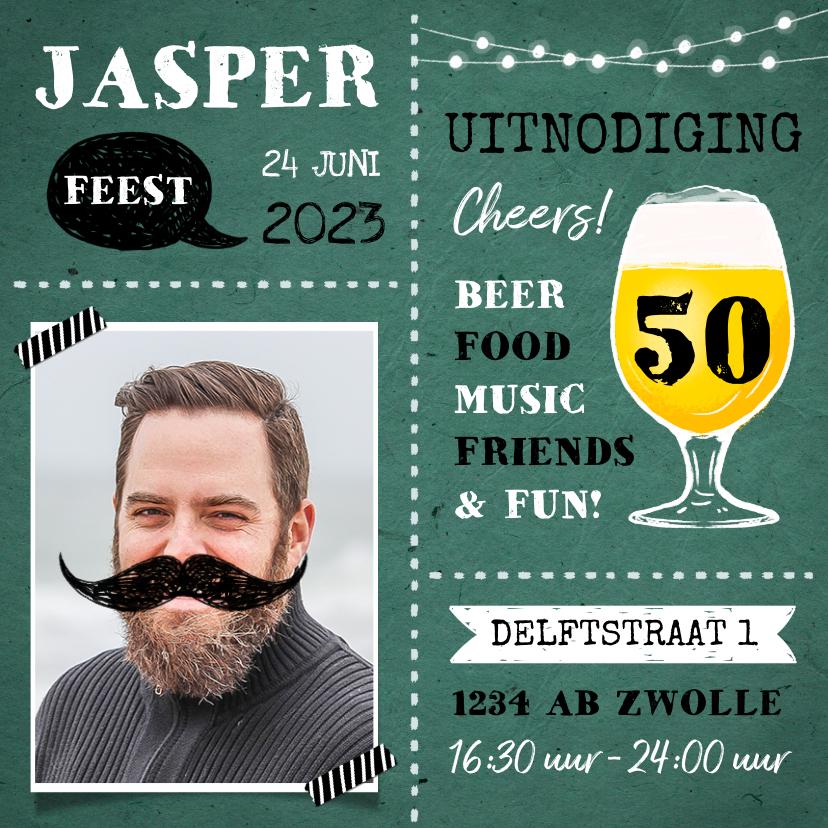 Uitnodigingen - Uitnodiging verjaardag man met eigen foto en bier