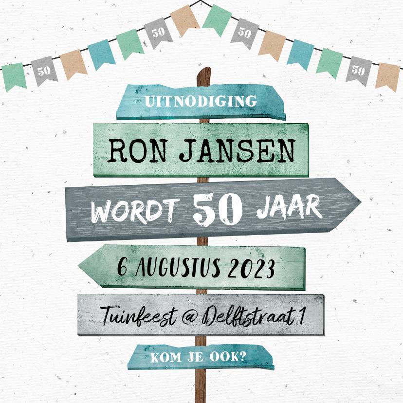 Uitnodigingen - Uitnodiging verjaardag man met houten wegwijzers