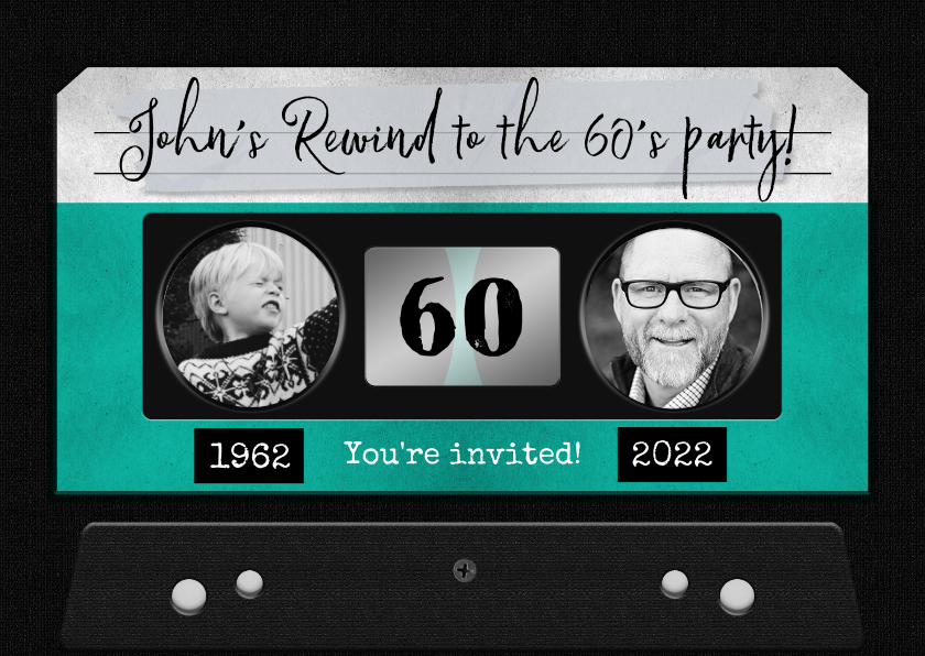 Uitnodigingen - Uitnodiging verjaardag man retro casette muziek