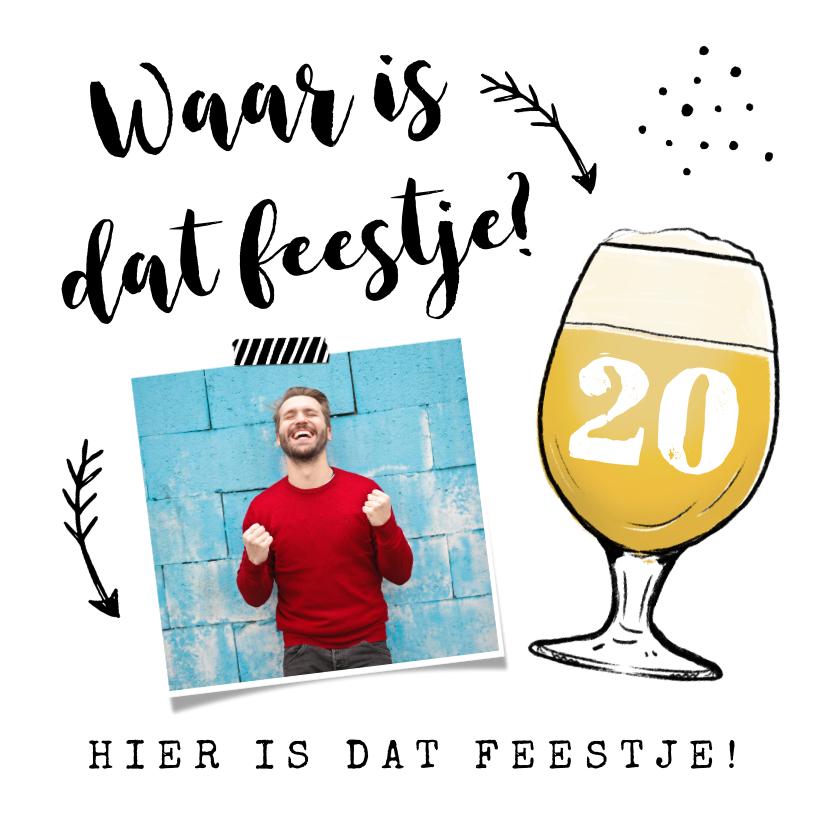 Uitnodigingen - Uitnodiging verjaardag met bier en eigen foto