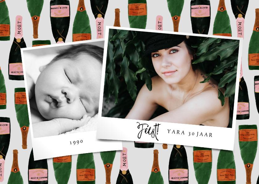 Uitnodigingen - Uitnodiging verjaardag met foto's en champagne illustraties