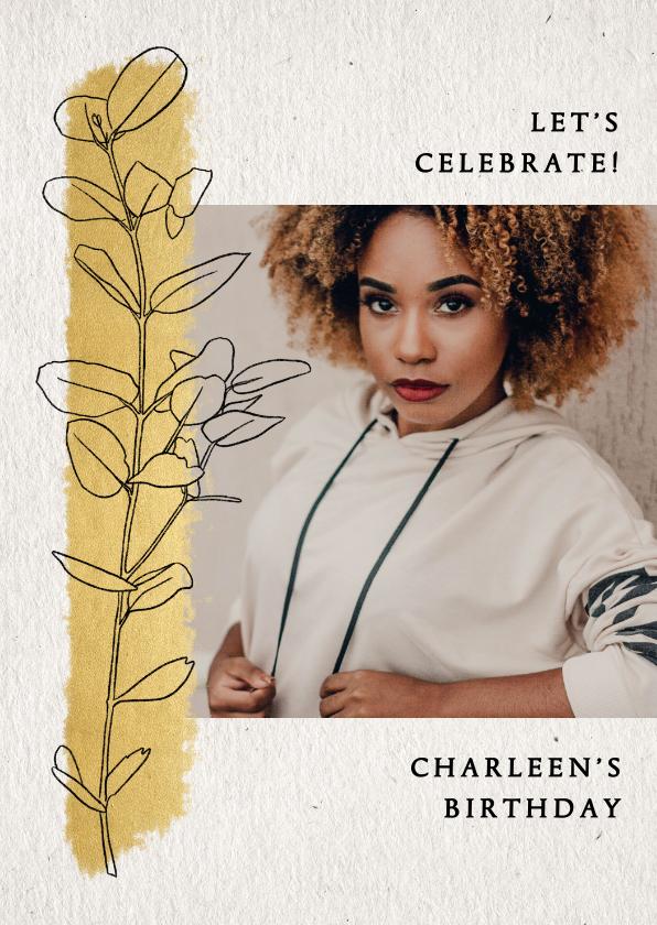 Uitnodigingen - Uitnodiging verjaardag met gouden streep en lijntekening tak