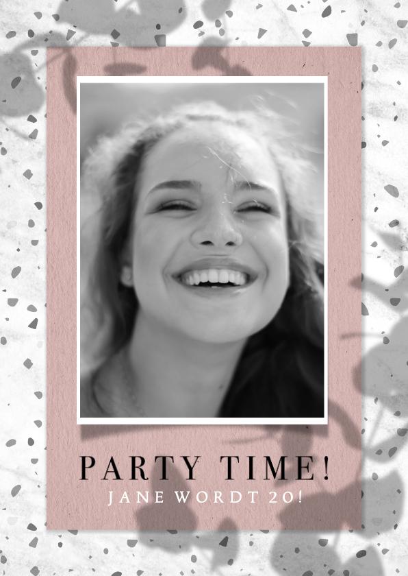 Uitnodigingen - Uitnodiging verjaardag met marmer, terrazzo, foto en schaduw