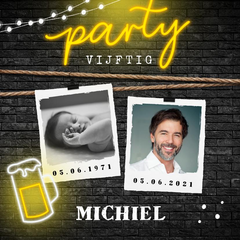 Uitnodigingen - uitnodiging verjaardag neon bier party geel zwart