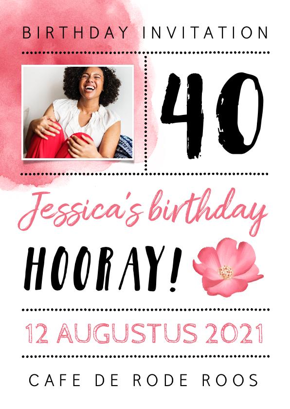 Uitnodigingen - Uitnodiging verjaardag roze met waterverf, bloem en foto