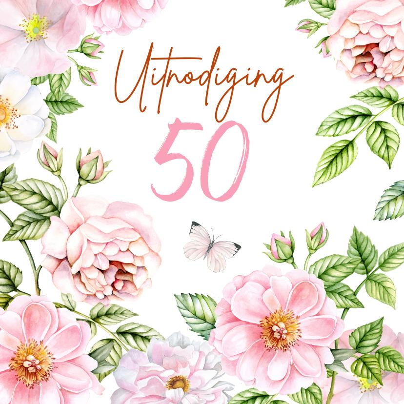 Uitnodigingen - Uitnodiging verjaardag rozen
