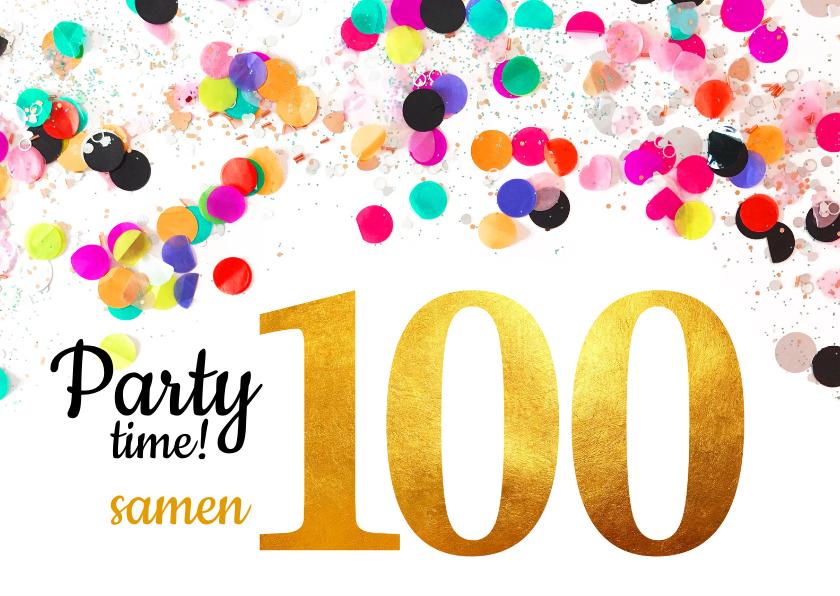 samen 100 jaar Uitnodiging verjaardag samen 100 goud | Kaartje2go samen 100 jaar
