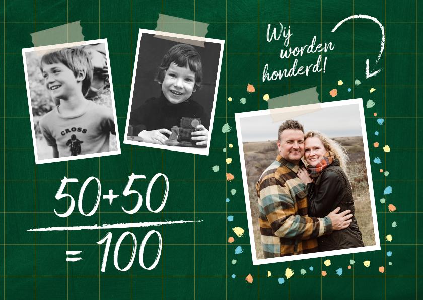 Uitnodigingen - Uitnodiging verjaardag samen 100 jaar fotos op krijtbord